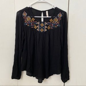 Black Target Blouse with Tribal Detailing
